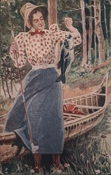 Woman In Old-Fashioned Dress Holds Up A Caught Fish Postcard