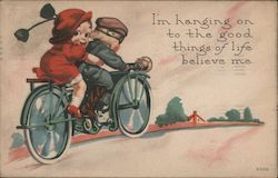 I'm Hanging on to the Good Things of Life Believe me. - A Little Boy and Girl on a Motorcycle