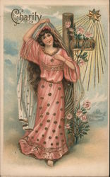 Charity: A Woman Standing in Front of a Cross and a Star Postcard