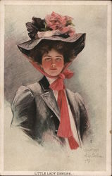 A Woman with a Large Hat with Flowers