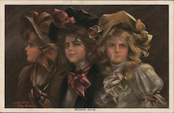 School Days With Three Girls In Fancy Hats