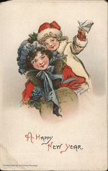 A Happy New Year - 2 Girls Hugging Each Other Postcard