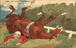 Are We Down-Hearted? No!!! A Man Trapped Underneath a Horse.