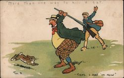 A Man Holding a Rifle Chasing a Bunny Postcard