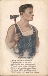 My Workman - A Man with a Hammer Postcard