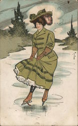 Woman in a Green Skirt on Ice Skates Postcard