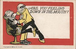 Dentist Pulling Patient's Tooth Postcard