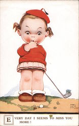 Young Girl with a Golf Club and Ball