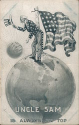 Uncle Sam Standing on a Glove with an American Flag