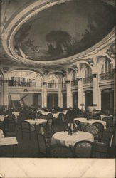 Hamburg-Amerika Line Dining Room with a Large Mural on the Ceiling