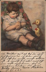 A Little Boy with a Play Duck Postcard