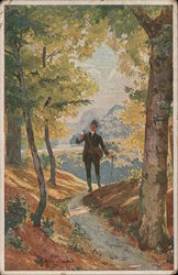 Man Walking Through Woods Postcard