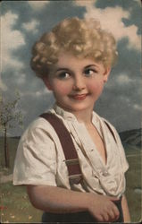 Young Boy with Blonde Curls and Blue Eyes Postcard
