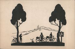 Three People with Bicycles Between Two Trees