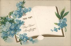New Year Greetings - A Book with Blue Flowers