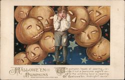 Halloween Pumpkins - A Boy Standing Scared by a Bunch of Jack O'Lanterns
