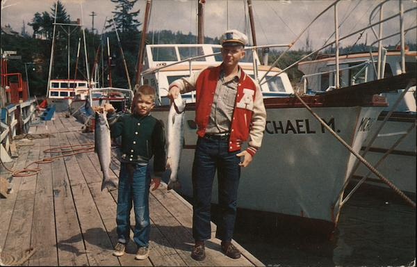 2 Successful Salmon Fishermen Depoe Bay Oregon Morton Luman