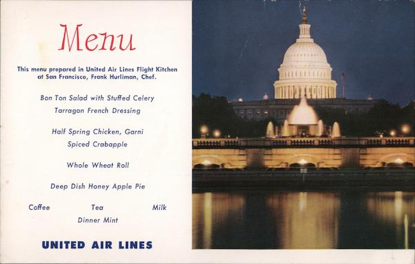 United Airlines Menu Airline Advertising