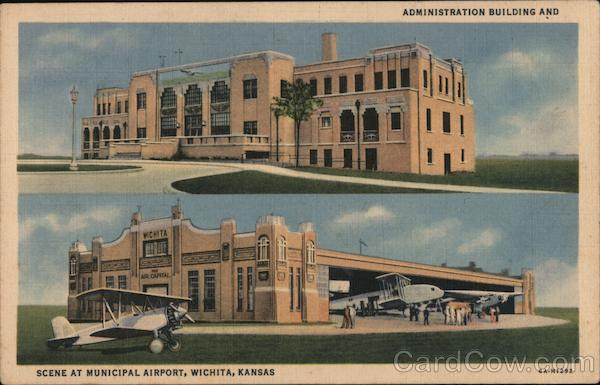 Administration Building and Scene at Municipal Airport Wichita Kansas