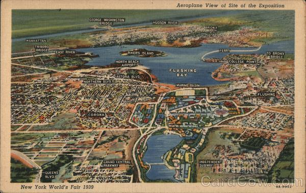 Aeroplane View of Site of The Exposition - New York World's Fair 1939