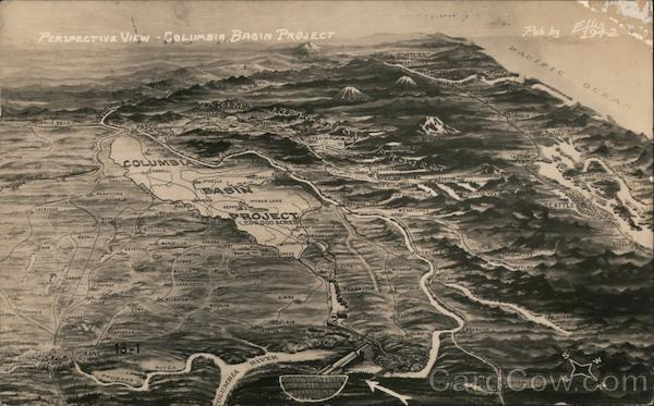 Columbia Basin Project Map, Perspective View Washington
