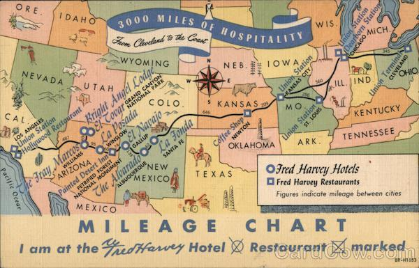 3000 Miles of Hospitality: Mileage Chart for Fred Harvey Hotels & Restaurants