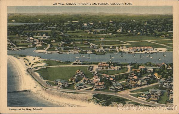 Air View of Falmouth Heights and Harbor Massachusetts