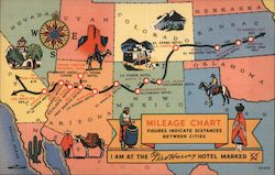 Mileage Chart, Fred Harvey Hotels Postcard