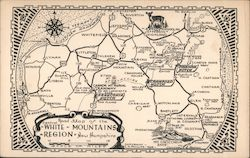 Road Map of the White Mountains Region of New Hampshire