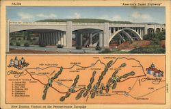 New Stanton Viaduct on the Pennsylvania Turnpike Map Postcard