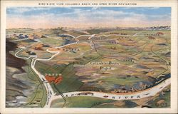 Bird's-Eye View Columbia Basin and Open River Navigation Postcard