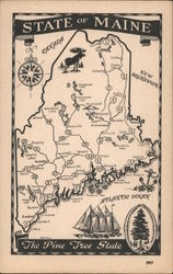 Map of the State of Maine Postcard