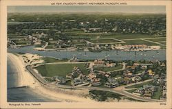 Air View of Falmouth Heights and Harbor Postcard