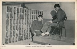 Fitting Shoes-Reception Center Postcard
