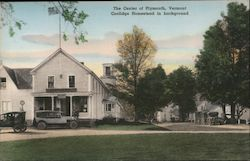 The Center of Town, Coolidge Homestead in Background Postcard