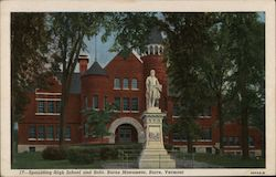 Spaulding High School and Robt. Burns Monument Postcard
