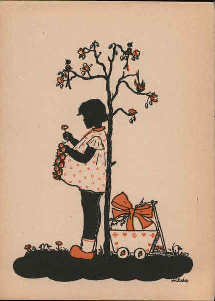 A little girl holding flowers Silhouettes