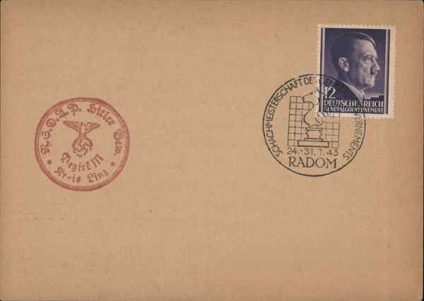 Blank canceled postcard from Nazi-occupied Poland Radom