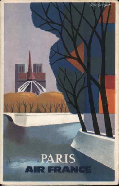 Paris Air France Art Deco Airline Advertising