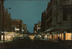 Hunter Street at Night, New Castle. N.S.W. Postcard