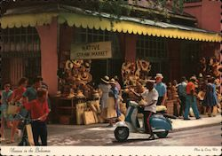 Street Scene - Native Straw Market, Vespa Scooter Postcard