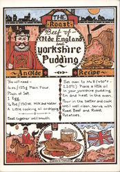 Recipe of The Roast Beef of Olde England and Yorkshire Pudding. Postcard
