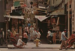 A view of a Typical Street With Steps in Central District, Hong Kong Postcard