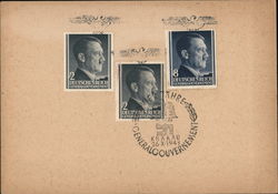 Nazi-Era German Postal Card, 3 Hitler Stamps, Krawkow