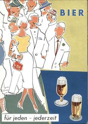 Art Deco: People enjoying beer. Postcard