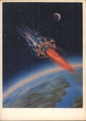 "Soviet ""Future Space"" Postcard with space as theme."