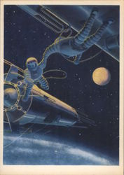 "Soviet ""Future Space"" Picture of astronauts in space"