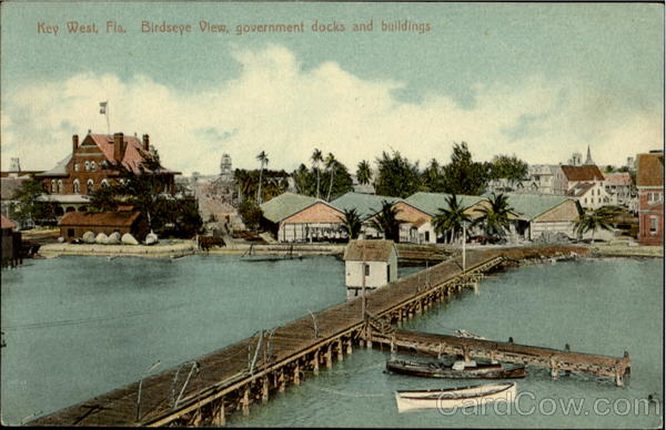 Birds Eye View Government Docks And Buildings Key West Florida