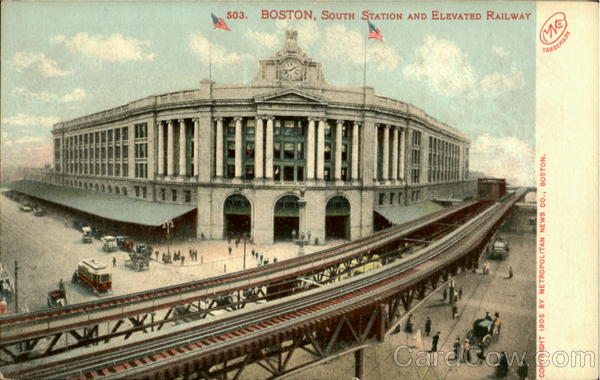 South Station And Elevated Railway Boston Massachusetts