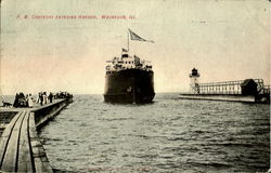P. M. Carferry Entering Harbor Postcard